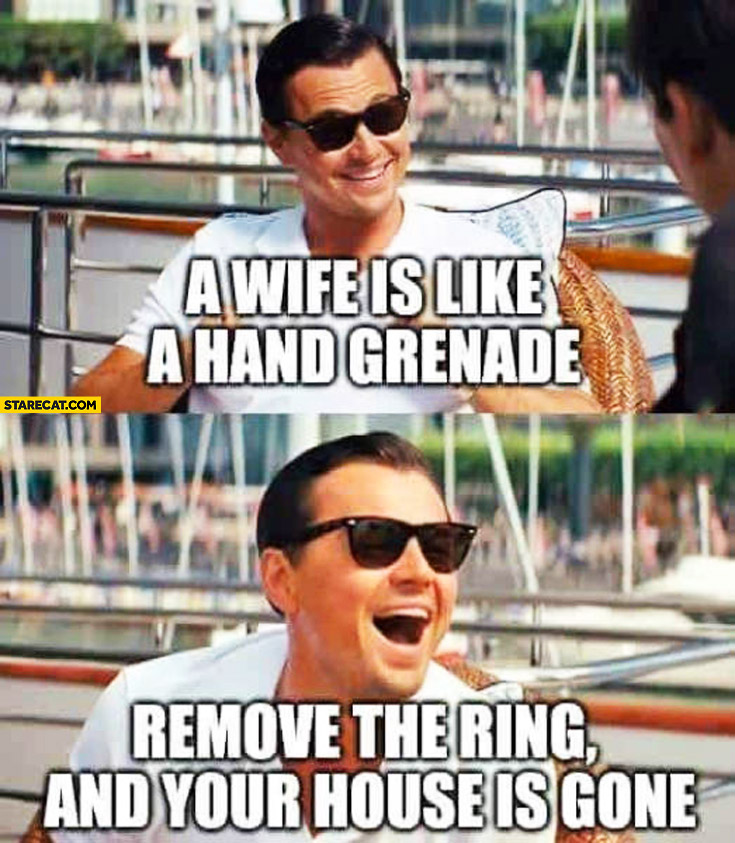 A wife is like a hand granade remove the ring and your house is gone