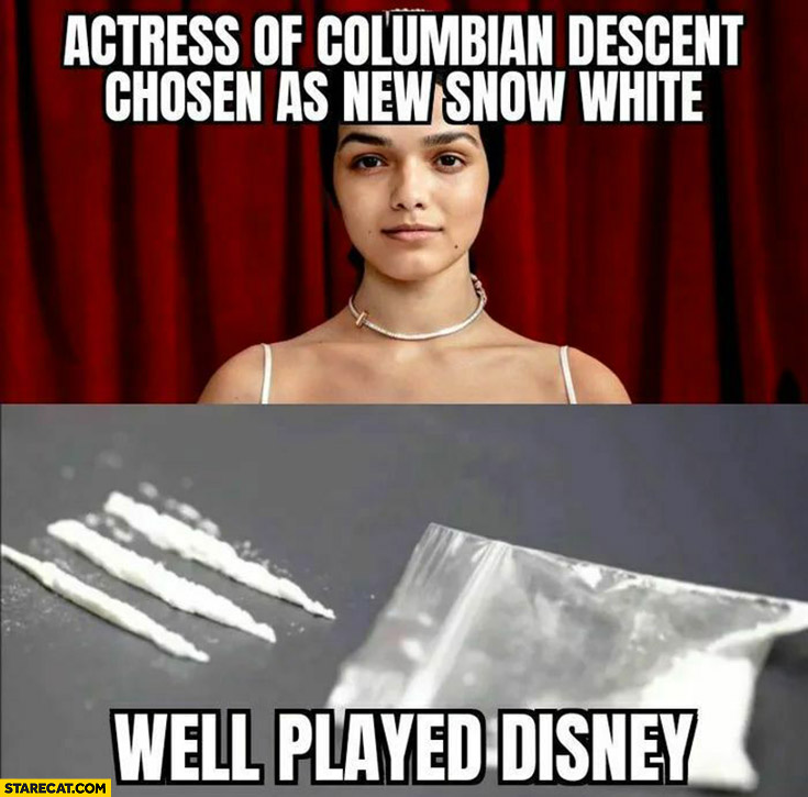 Actress of Columbian descent chosen as new snow white well played Disney cocaine drugs