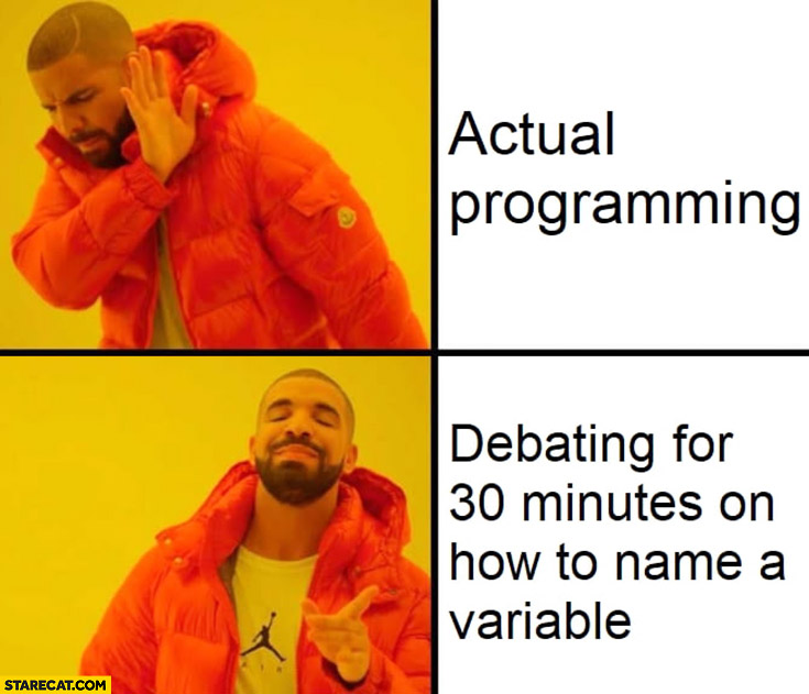 Actual programming vs debating 30 minutes on how to name a variable Drake meme