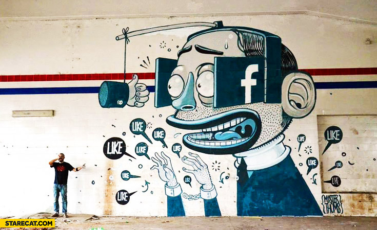 Addicted to Facebook graffiti