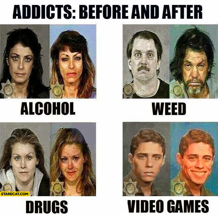 Addicts before and after alcohol weed drugs video games
