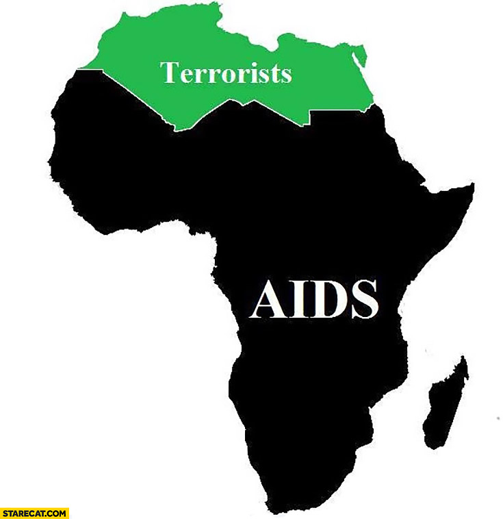 Africa map north part terrorists the rest AIDS