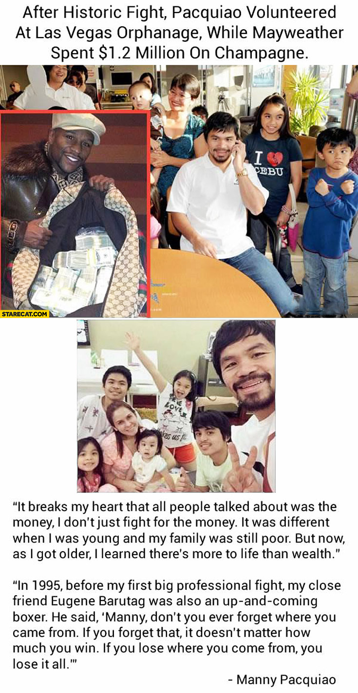 After historic fight Pacquiao volunteered at Las Vegas orphanage while Mayweather spent 1,2 million on champagne