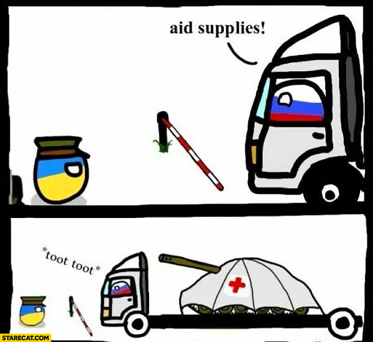 Aid supplies Russian transport visiting Ukraine hidden tank