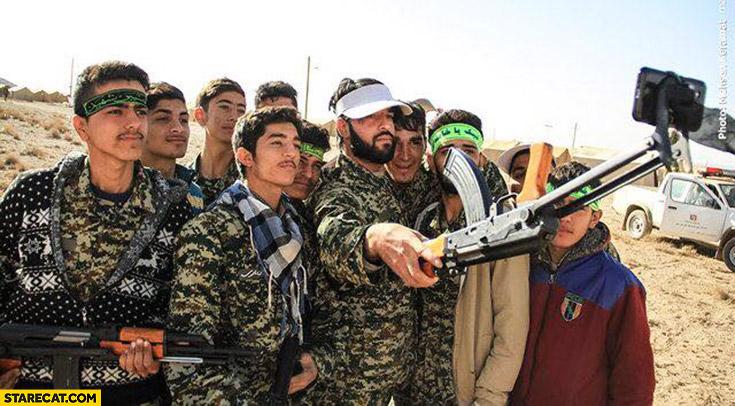 AK47 Kalashnikov rifle used as a selfie stick