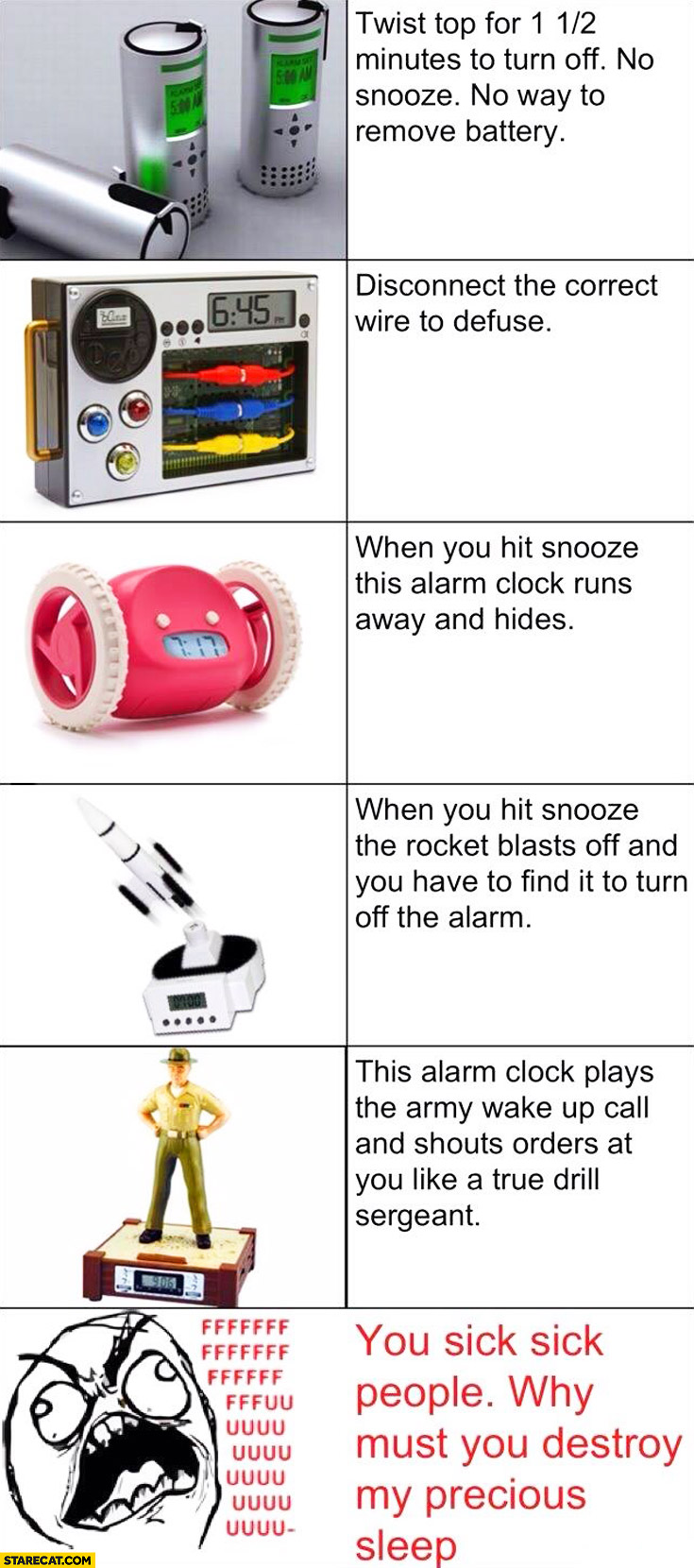Alarm clock gadgets you sick people why must you destroy my precious sleep