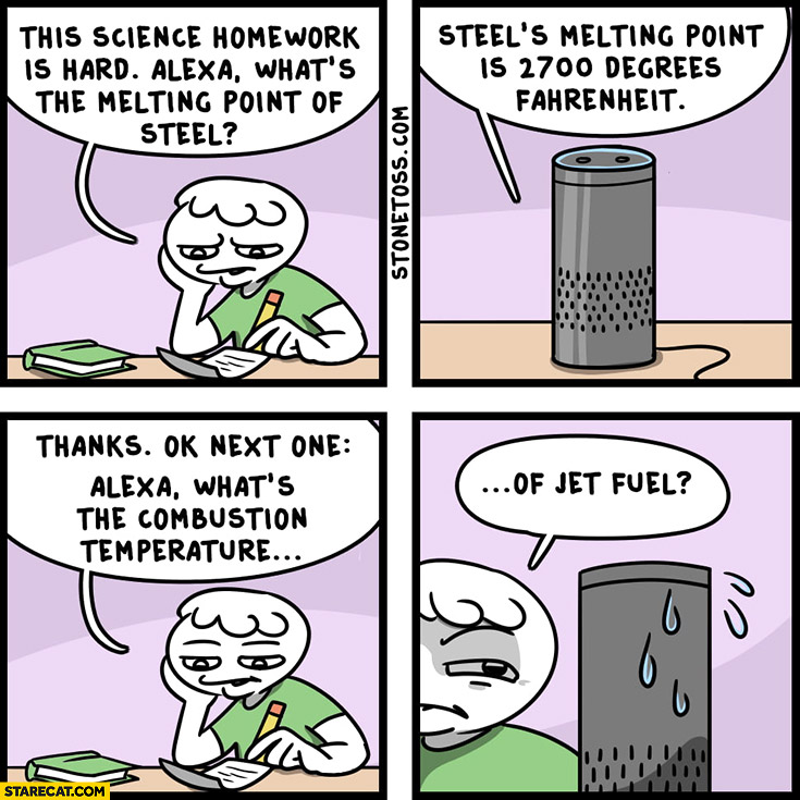 Alexa, what's the melting point of steel? And what's the combustion temperature of jet fuel 9/11 conspiracy theory comic