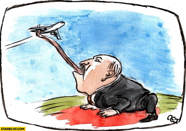 Alexander Lukashenko catching airplane like a frog tongue