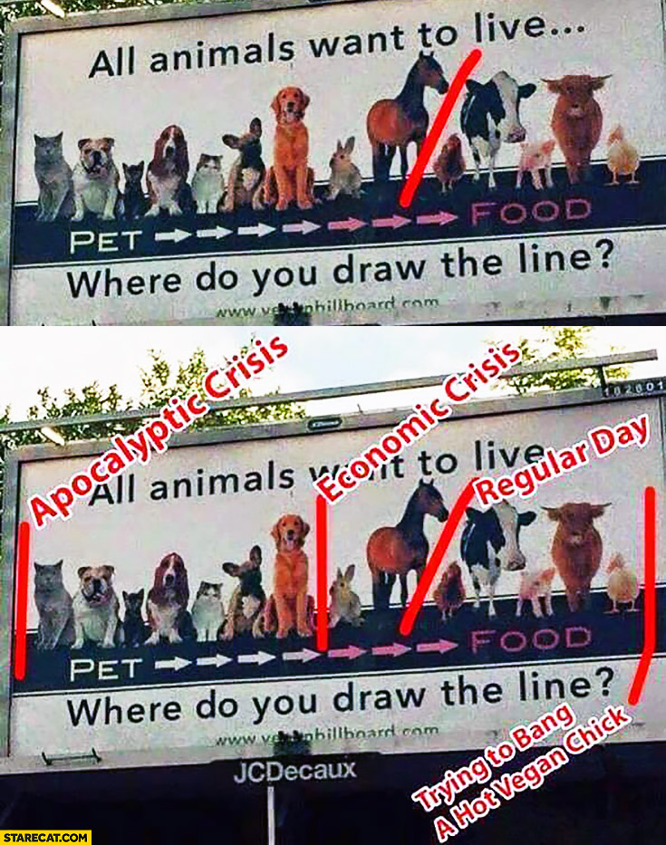 All animals want to live where do you draw the line pet vs food apocalyptic crysis economic crysis regular day trying to bang a hot vegan chick