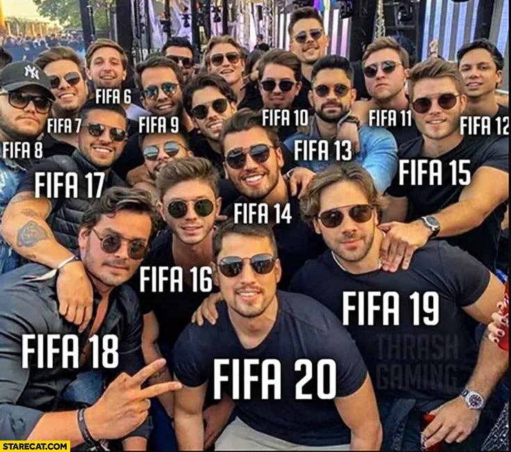 All the FIFA editions versions look the same identical guys on a group photo