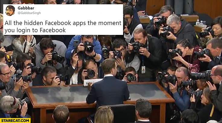 All the hidden facebook apps the moment you login to facebook photographers taking pictures of Mark Zuckerberg
