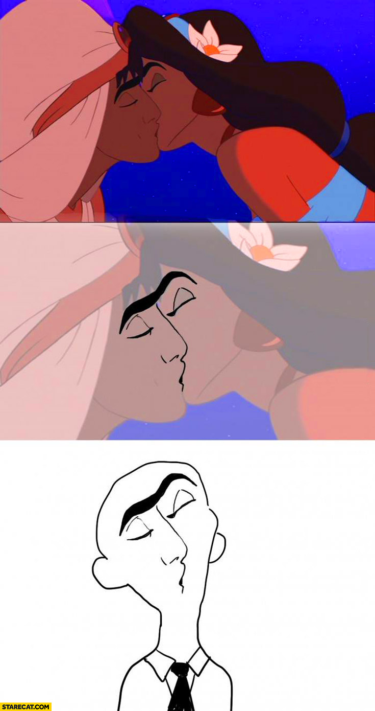 Alladin kissing scene faces looking like one retarded