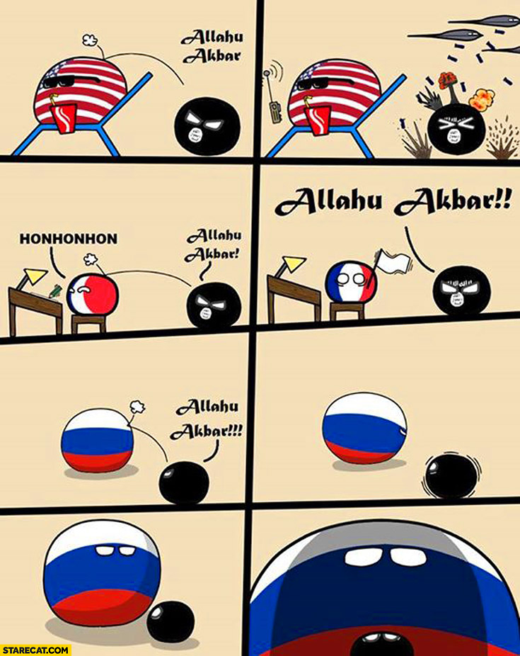 Allahu akbar ball USA France Russia