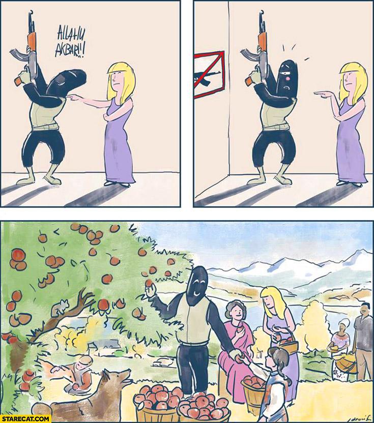 Allahu Akbar not allowed peace and love