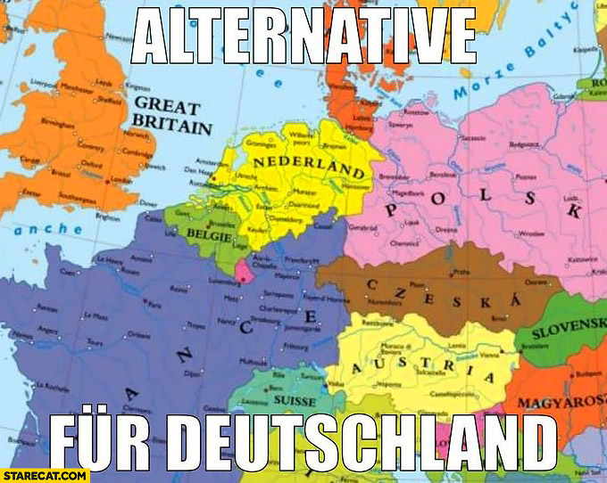 Alternative fur Deutschland for Germany no Germany on the map