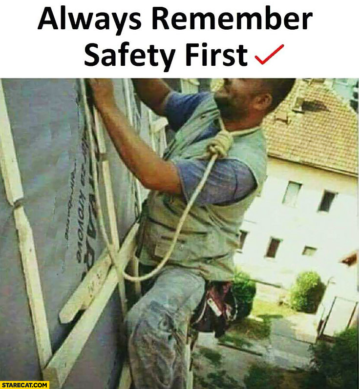 Always remember safety first suicide rope around neck protection