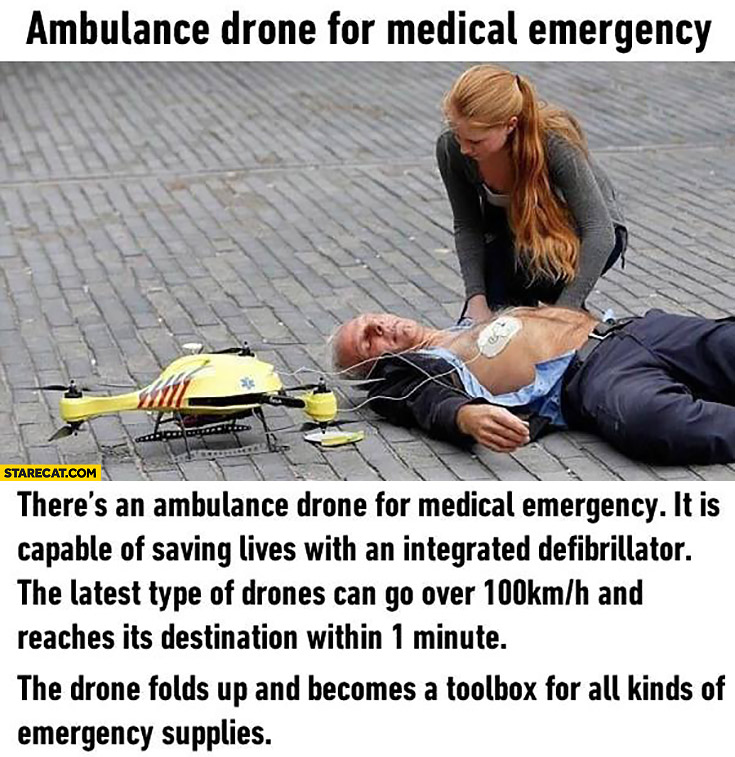 Ambulance drone for medical emergency with integrated defibrillator and toolbox
