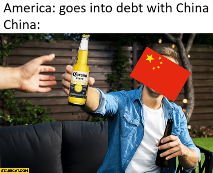 America goes into debt with China they give Corona virus to the USA Corona Extra beer