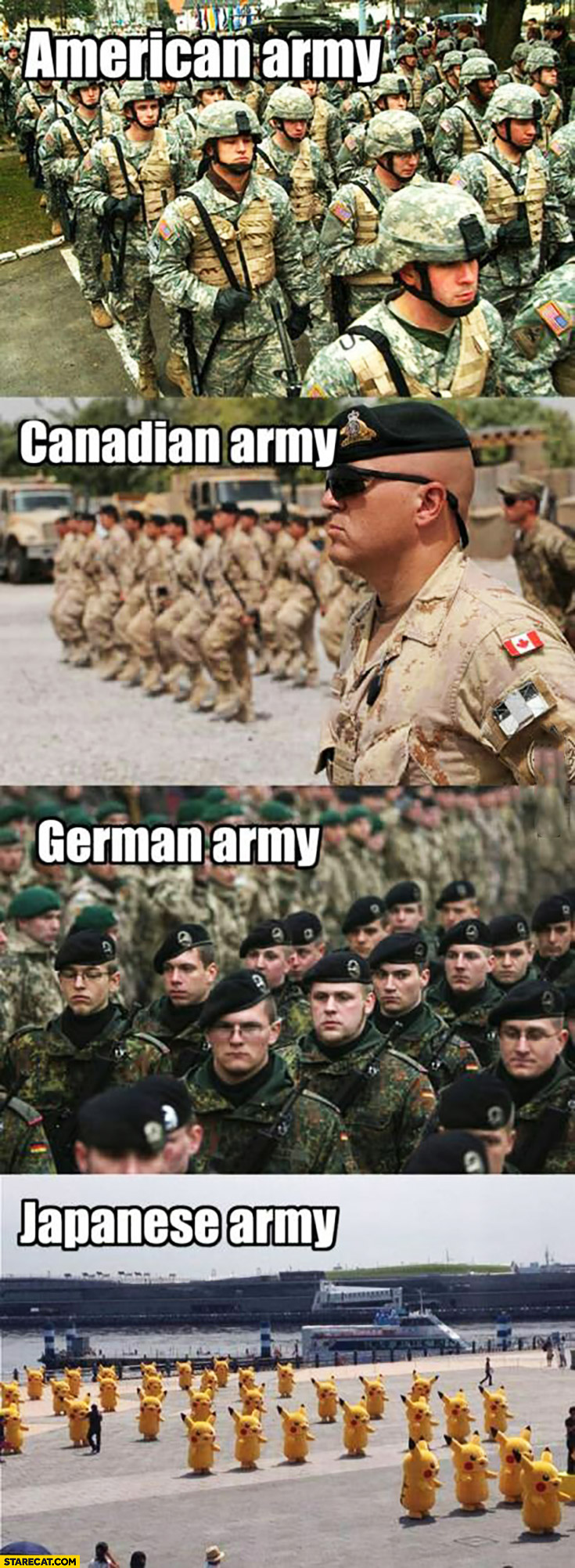 American army, Canadian army, German army, Japanese army Pikachu