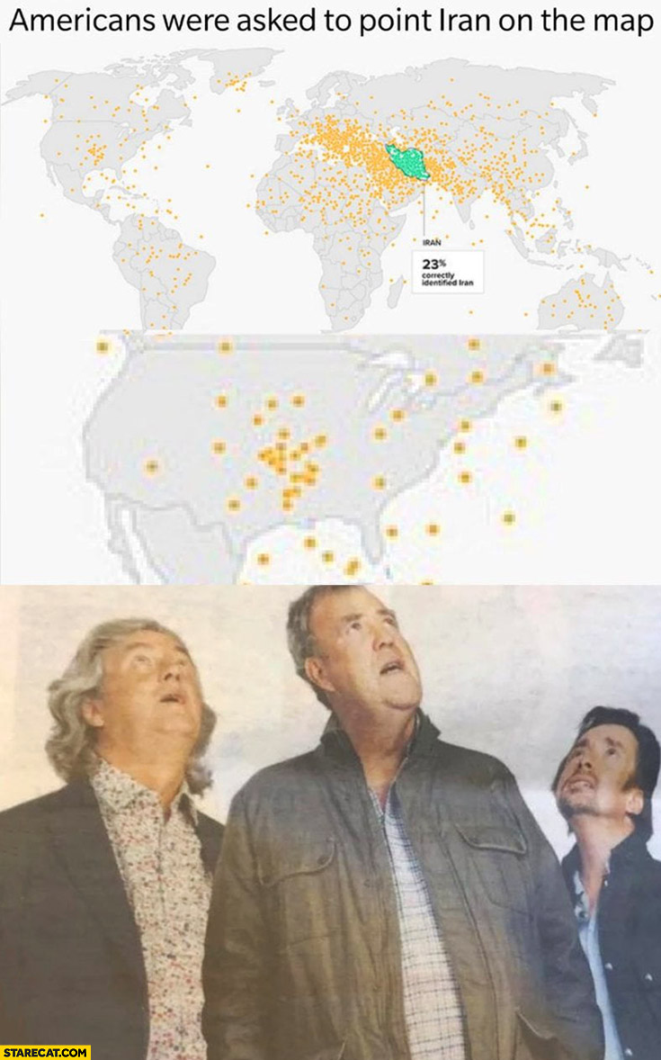 Americans were asked to point Iran on the map Top Gear Grand Tour