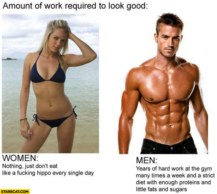 Amount of work required to look good men vs women just don't eat like a hippo every single day