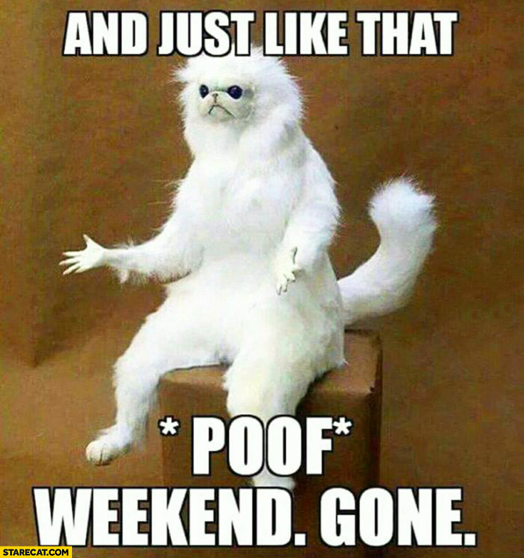 And just like that. *Poof* Weekend. Gone.