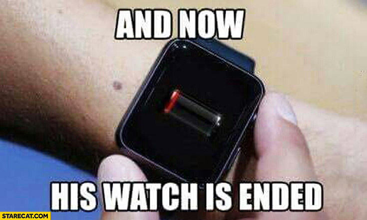 And now his watch is ended Game of Thrones Apple watch flat battery