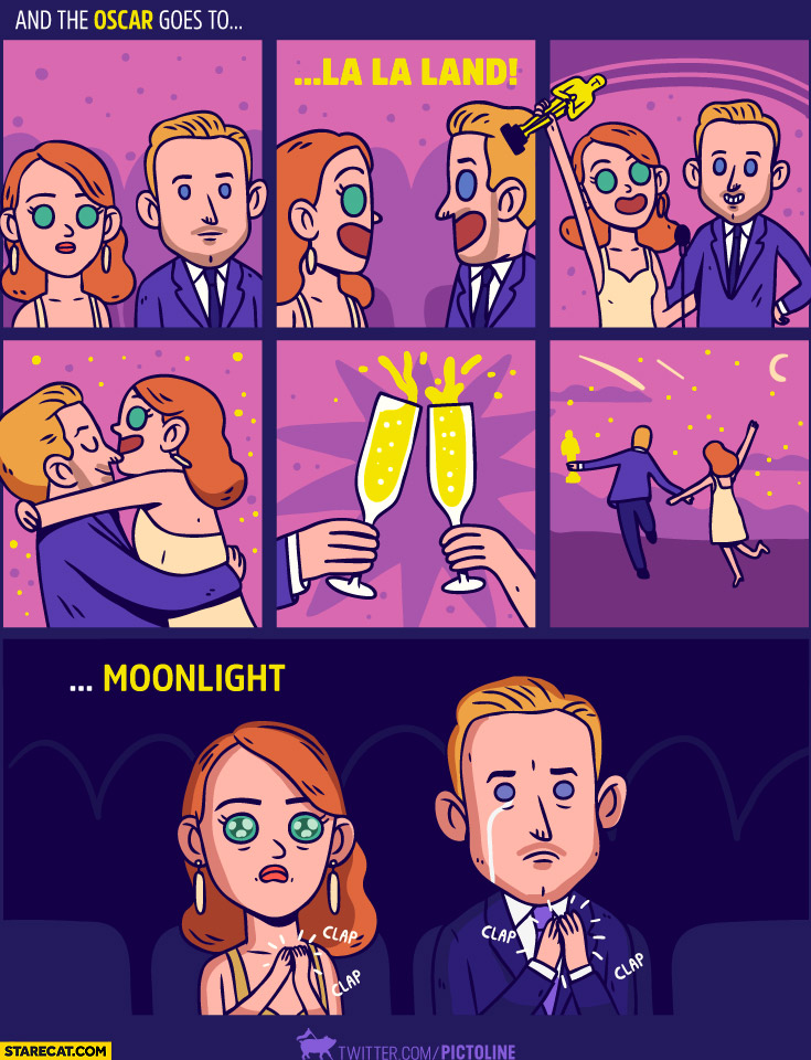 And the Oscar goes to La La Land Moonlight fail comic