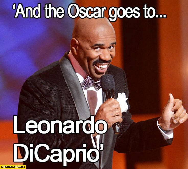 And the Oscar goes to Leonardo DiCaprio Steve Harvey mistake Miss Universe