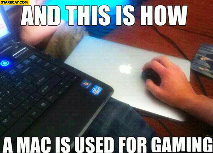 And this is how a Mac is used for gaming MacBook as a mousepad