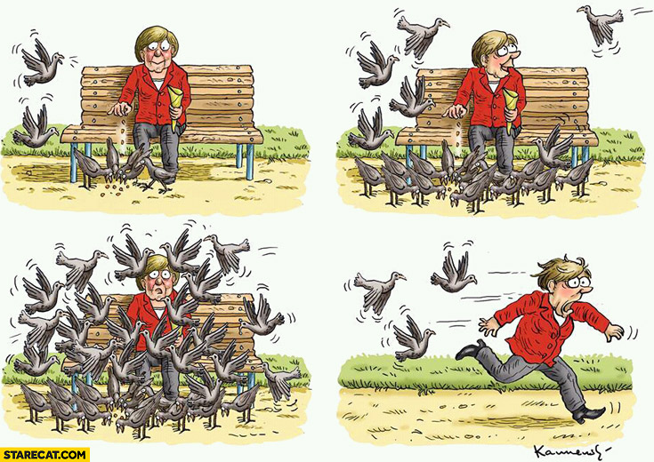 Angela Merkel feeding pigeons too many running away