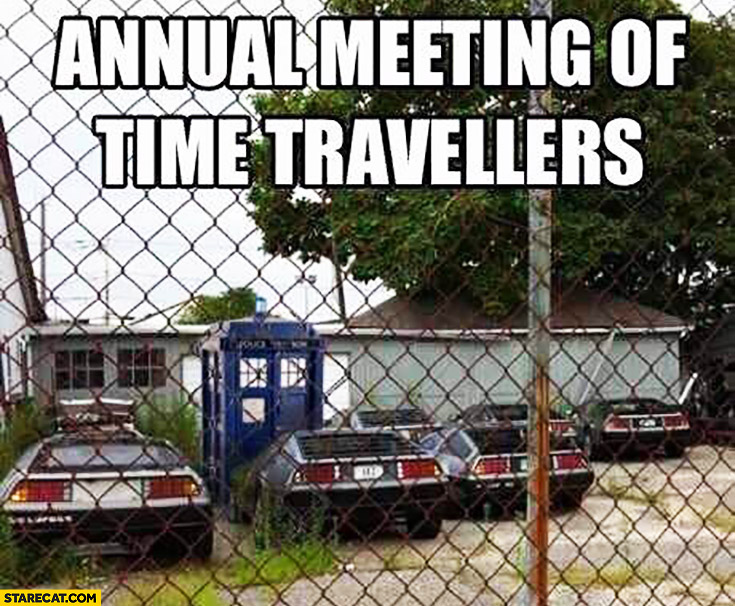 Annual meeting of time travellers many DeLoreans cars