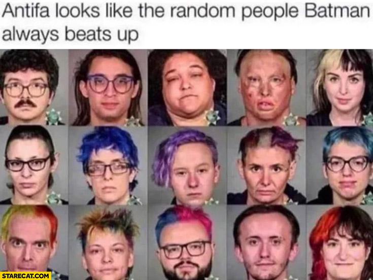 Antifa looks like the random people Batman always beats up