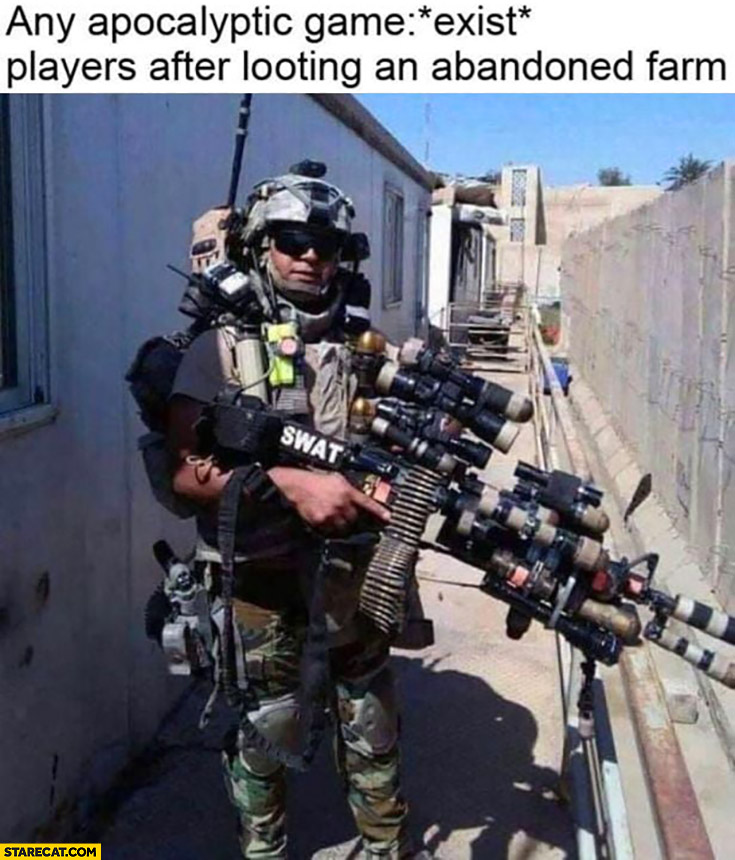 Any apocalyptic game exist players after looting an abandoned farm full of equipment