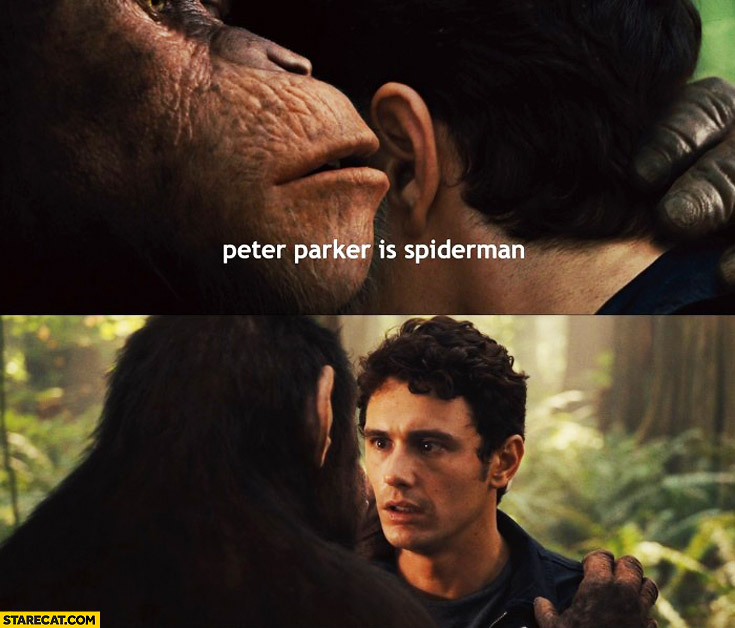 Ape telling a secret Peter Parker is Spiderman