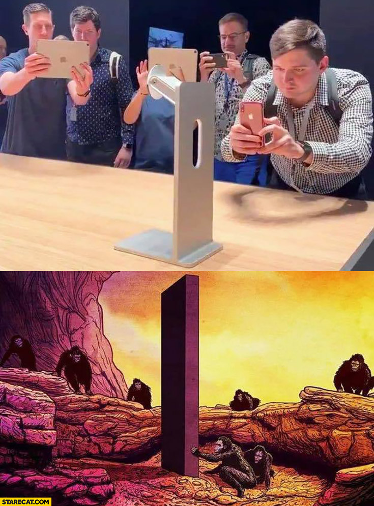 Apple 1000 dollars monitor display stand people like monkeys checking it