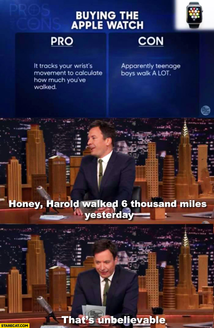 Apple Watch pros cons teenage boys walk a lot Harold walked 6 thousand miles yesterday
