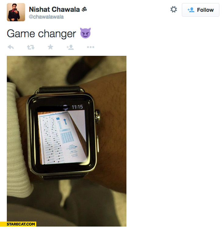 Apple watch test cheating answer sheet photo game changer