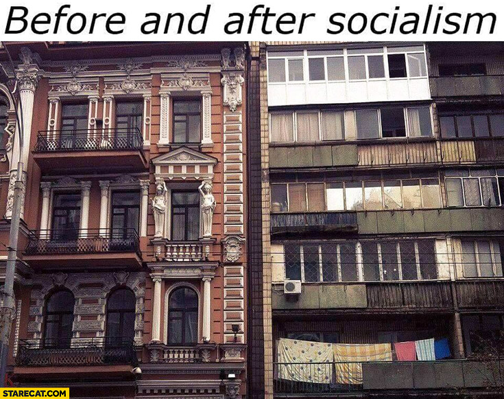 Architecture before and after socialism comparison