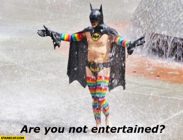 Are you not entertained? Man wearing Batman suit costume rainbow leggins cosplay
