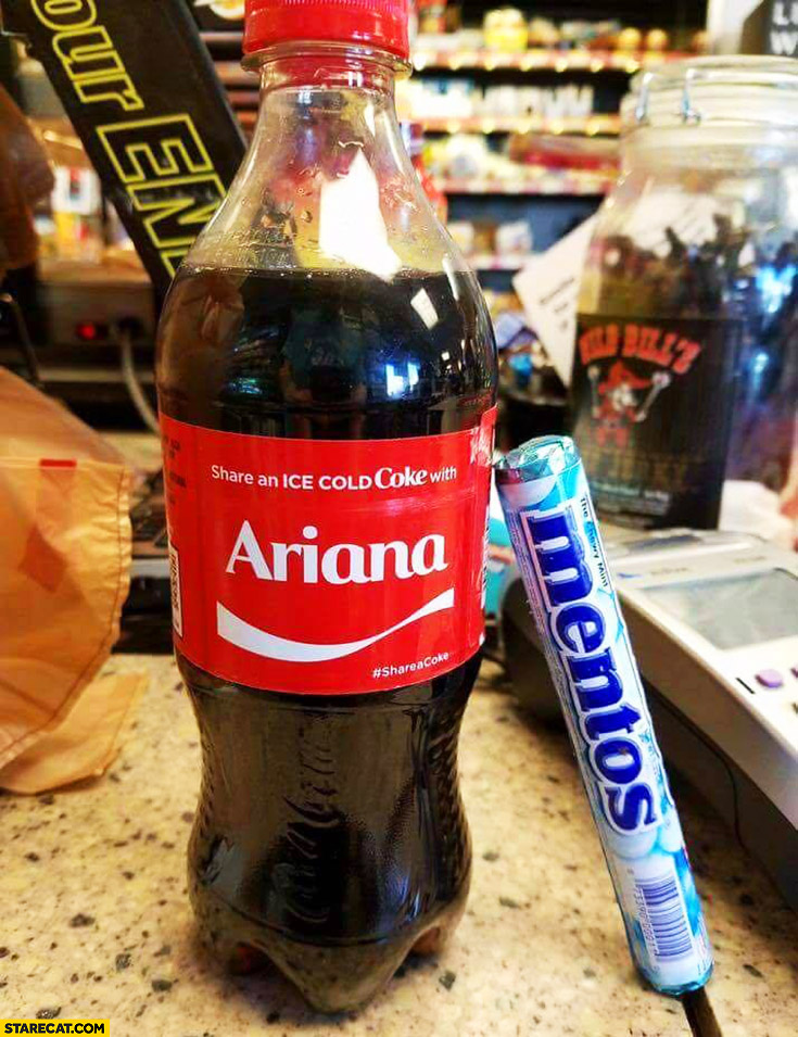 Ariana Coca-Cola label Mentos Manchester terrorist attack Ariana Grande