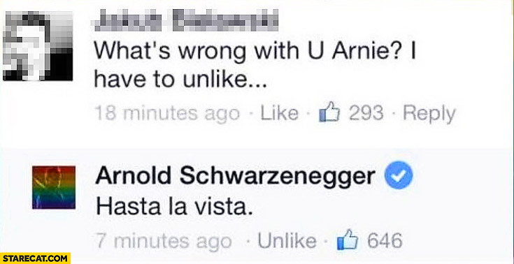 Arnold Schwarzenegger facebook hasta la vista have to unlike rainbow profile picture