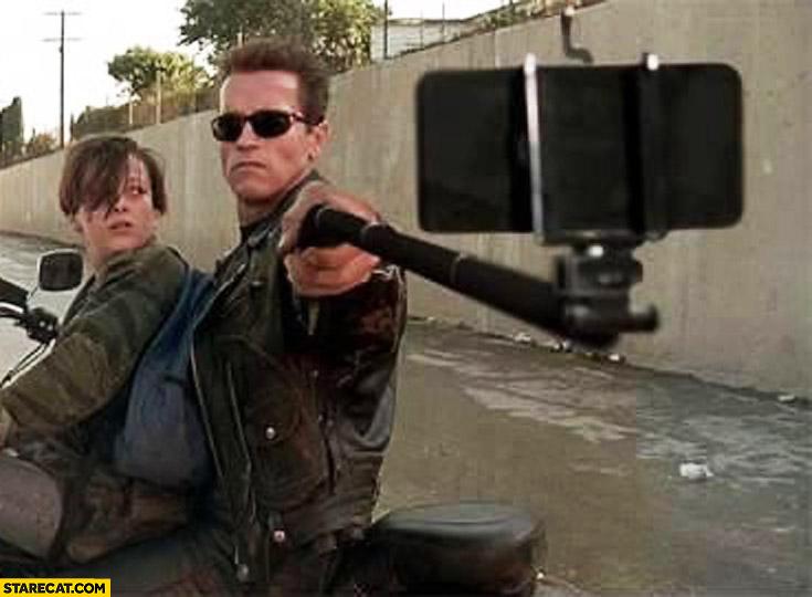 Arnold Schwarzenegger selfie stick