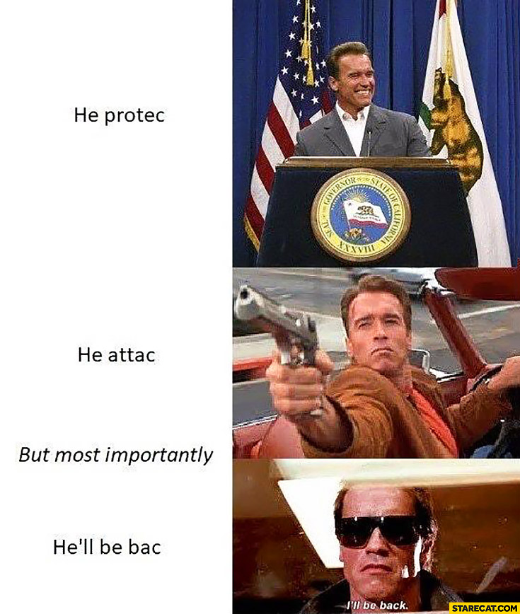 arnold schwarzenegger terminator he protects he attacks but most importantly hell be back he protec but he also attac memes starecat com