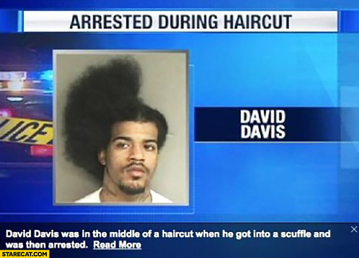 Arrested during haircut half afro man