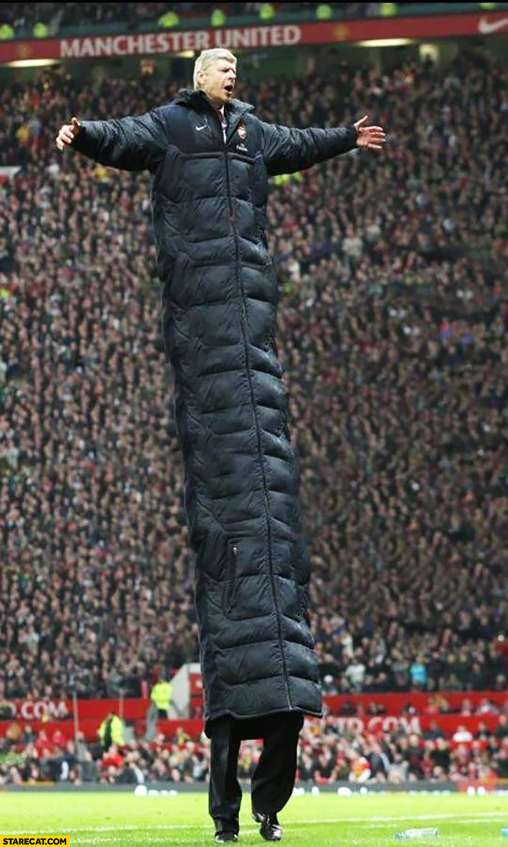Arsene Wenger super long jacket millipede photoshopped