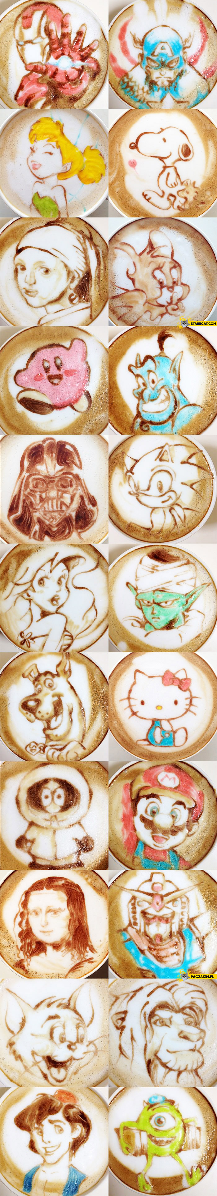 Artistic coffee latte cartoon characters