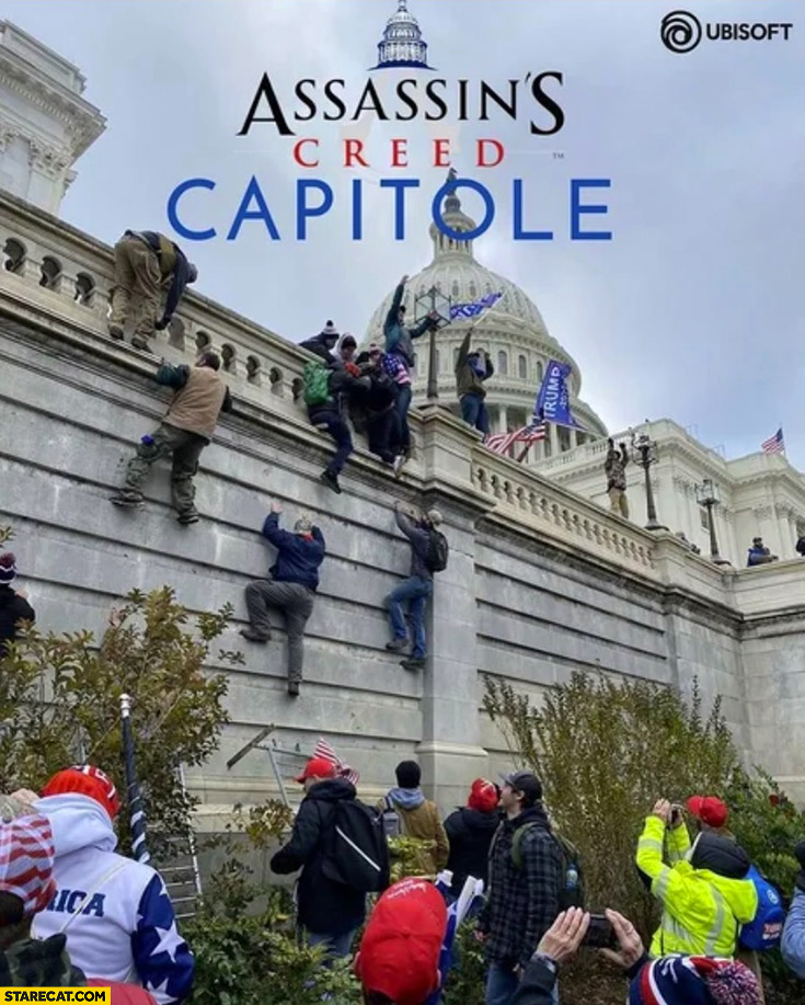 Assassin's creed capitole game Trump supporters climbing a wall