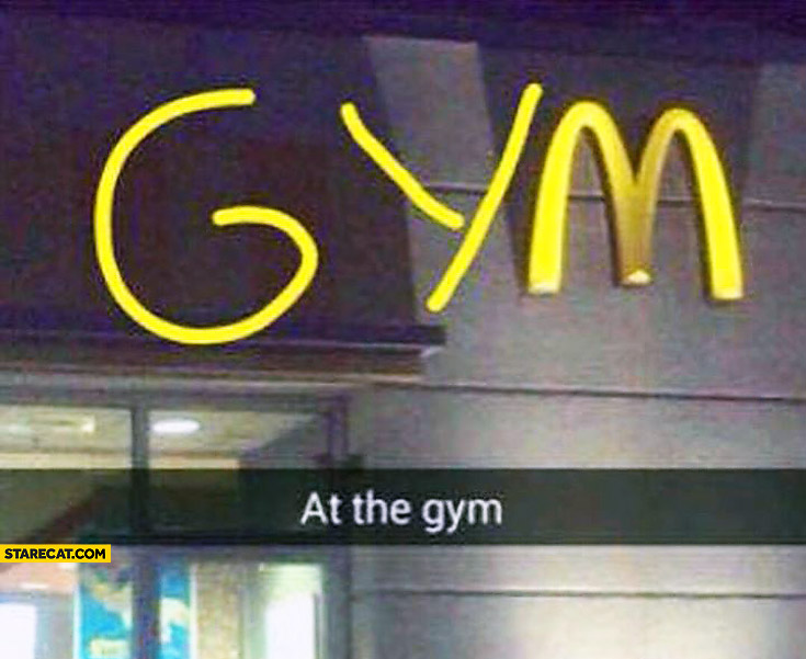 At the gym McDonald's logo