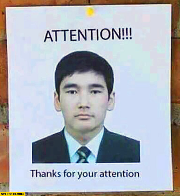 Attention! Thanks for your attention. Trolling poster